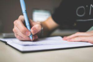 list, pen, paper